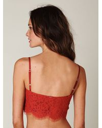 Free People - Red Lace Crop Bralette - Lyst