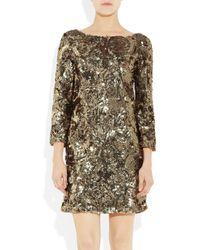 Marchesa - Metallic Sequined Shift Dress - Lyst