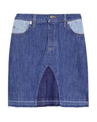 See By Chloé | Blue Patchwork Stretch-denim Skirt | Lyst