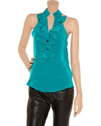 Sunner - Blue Florent Open-back Ruffled Silk Top - Lyst