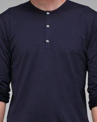 Sunspel - Blue Long Sleeve Henley for Men - Lyst