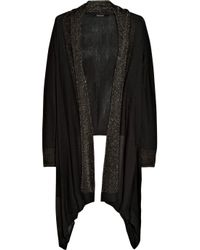 DKNY | Black Cozy Silk-blend Wrap Cardigan | Lyst