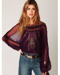 Free People | Purple Embroidered Sheer High Neck Top | Lyst