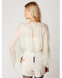 Free People - White Embroidered Sheer High Neck Top - Lyst