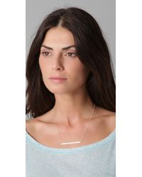 Jennifer Zeuner - Metallic Horizontal Bar Necklace with Diamond - Lyst