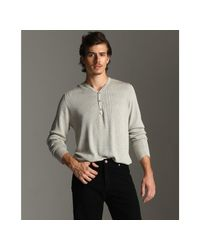 John Varvatos | Gray Cloudy Striped Silk-cotton Ribbed Henley Sweater for Men | Lyst