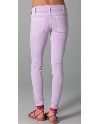 Current/Elliott - Purple The Ankle Skinny Jeans - Lyst