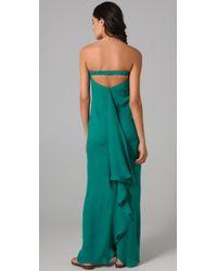 Halston - Green Shark Strapless Gown - Lyst