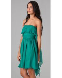 Halston - Blue Strapless Flare Dress - Lyst