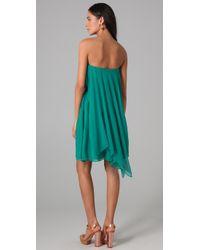 Halston | Blue Strapless Flare Dress | Lyst
