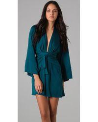 Issa - Blue Long Sleeve Print Kimono Dress - Lyst