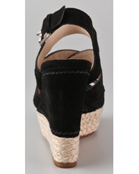Kors by Michael Kors - Black Cynthia Suede Wedge Sandals - Lyst