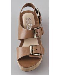 Kors by Michael Kors - Brown Kors Zoe Platform Wedge Sandals - Lyst