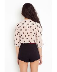 Nasty Gal | Pink Ikat Heart Blouse - Blush | Lyst