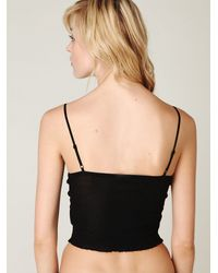 Free People | Black Rib and Lace Crop Cami | Lyst