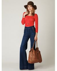 Free People | Blue High Waisted Zippered Wideleg Jean | Lyst