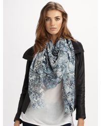 Alexander McQueen - Blue Reversible Printed Silk-blend And Jacquard Scarf - Lyst