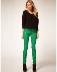 ASOS Collection - Asos Green Coated Coloured Skinny Jeans - Lyst