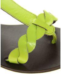 ASOS | Green Asos Found Fluro Leather Sandal | Lyst