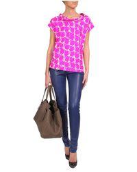 Balenciaga | Pink Printed Silk Twill Top | Lyst