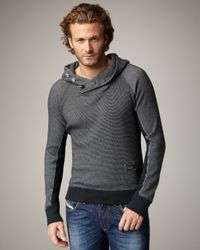 DIESEL | Black Sacky Waffle-knit Hoodie for Men | Lyst