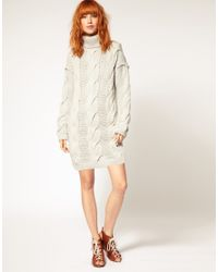 DIESEL - Gray Diesel Cable Knit Jumper Dress - Lyst