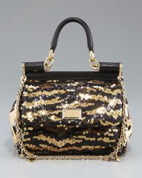 Dolce & Gabbana | Black Miss Sicily Mini Sequined Bag | Lyst