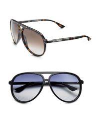 Emporio Armani | Black Plastic Aviator Sunglasses for Men | Lyst