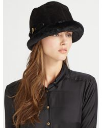 Eric Javits   Black Vail Suede & Faux Shearling Hat   Lyst