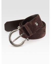 Ferragamo | Brown Adjustable Suede Belt for Men | Lyst