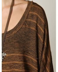 Free People - Brown We The Free Boxy Striped Sweater Tee - Lyst