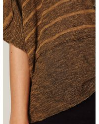 Free People | Brown We The Free Boxy Striped Sweater Tee | Lyst