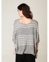 Free People | Gray We The Free Boxy Striped Sweater Tee | Lyst