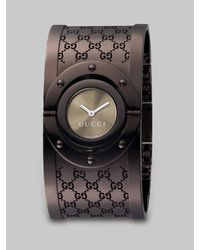Gucci | Brown Gg Patterned Cuff Watch | Lyst