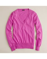 J.Crew | Purple Cotton V-neck Sweater | Lyst