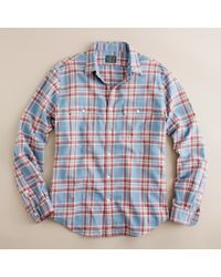 J.Crew | Blue Vintage Flannel Shirt in Copley Plaid for Men | Lyst