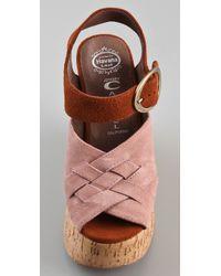 Jeffrey Campbell | Pink Darcy 2 Tone Suede Platform Sandals | Lyst