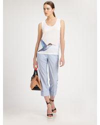 Jil Sander | Blue Cotton Cropped Seersucker Pants | Lyst