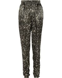 Lanvin | Gray Tapered Sequin-print Silk Pants | Lyst