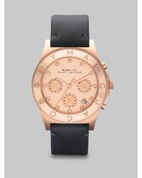 Marc By Marc Jacobs - Pink Chronograph Watch/ Black Leather Strap - Lyst