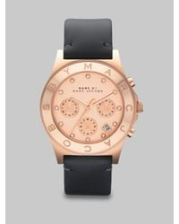 Marc By Marc Jacobs | Pink Chronograph Watch/ Black Leather Strap | Lyst