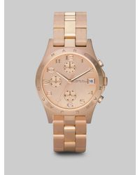 Marc By Marc Jacobs | Pink Henry Rose Goldtone Stainless Steel Chronograph Bracelet Watch | Lyst