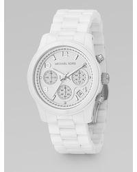 Michael Kors - White Ceramic Chronograph Watch - Lyst
