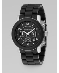 Michael Kors | Oversized Stainless Steel & Black Rubber Chronograph Watch | Lyst