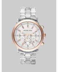 Michael Kors | Metallic Clear Bracelet Chronograph Watch | Lyst