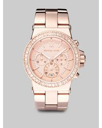 Michael Kors | Pink Rose Goldtone Stainless Steel & Crystal Chronograph Watch | Lyst