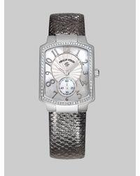 Philip Stein | Metallic Small Gunmetal Karung Strap Watch | Lyst