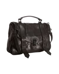 Proenza Schouler | Black Leather Ps1 Medium Convertible Satchel | Lyst