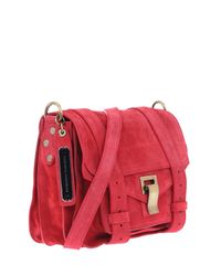 Proenza Schouler | Ps1 Red Suede Pouch Satchel Bag | Lyst