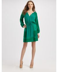 Rebecca Taylor - Green Patched Silk Jacquard Dress - Lyst